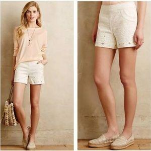 Anthropologie Elevenses Cream Shorts